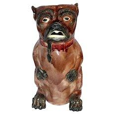Late 19th Century Majolica Pug Pitcher