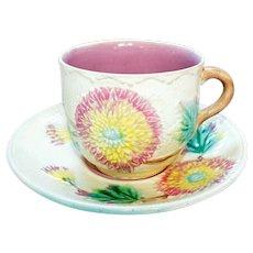 Late 19th Century Ceramic Majolica Mustache Cup & Saucer