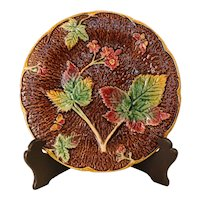 Late 19th Century Majolica Strawberry Plate
