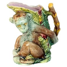 Late 19th Century Majolica Monkey Pitcher