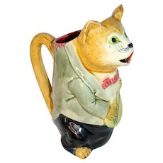 Early 20th Century Majolica Cat with Mandolin Pitcher