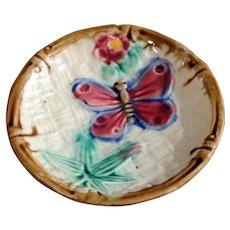 Butterfly & Bamboo Majolica Butter Pat