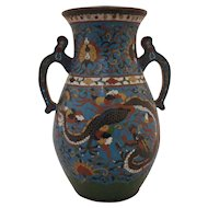 Japanese Meiji Period Cloisonne Vase with Large Pair of Dragons
