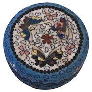 Cloisonne on Porcelain (Totai-Jippo) Circular Box or Dressing Table Jar