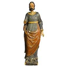 18th Century Wood Sculpture of Saint