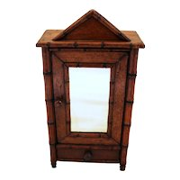 Late 19th Century Miniature Faux Bamboo Armoire