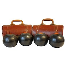 Set of 4 Lawn Bowls in Original Leather Cases