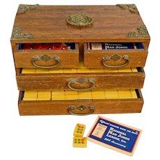 Chinese Mahogany Mahjong Case & Bakelite Set