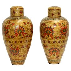 Vintage Papier Mache Kashmiri Covered Jars, a Pair