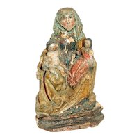 Late 17th Century Baroque Period Continental Statue of Saint Anne