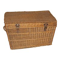 Early 20th Century French Lidded Wicker Basket