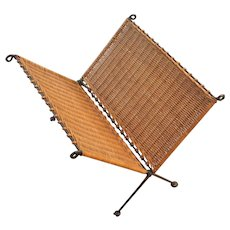 Raffia/Rattan Wrought Iron Magazine Rack