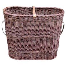 Mid 20th Century English Tall Wicker Basket
