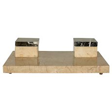 Early 20th Century Minimalistic Marble Double Ink Stand
