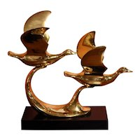 Mid Century Modern Pair of Flying Brass Ducks