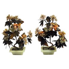 Large Pair of Chinese Jade and Agate Trees