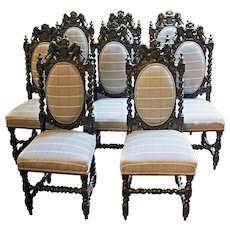 Set of 8 Crested 19th Century Dining Chairs