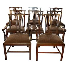 Set of 8 Dining Chippendale Style Chairs