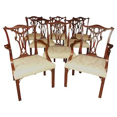 Mid-Late 19th Century English George III Set of 8 Mahogany Dining Chairs