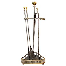 Late 19th Century English Firetools with Stand - Set of 3