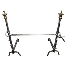 Late 19th Century English Brass & Iron Andirons - a Pair
