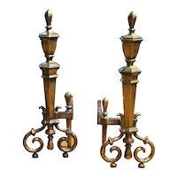 Pair of Hexagonal Brass Andirons