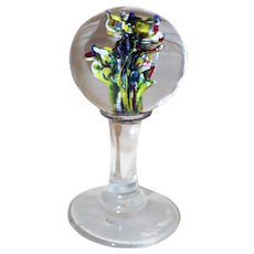19th Century Glass Globe Pedestal Base Paperweight