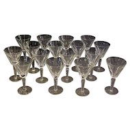 Set of 16 Large Waterford Goblets