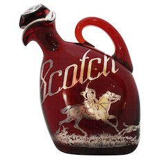 Ruby Mold Blown Glass Scotch Decanter