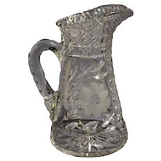 Cut and Etched Glass Pitcher