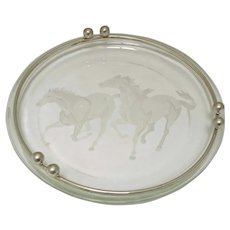 Glass Cigar Ashtray with Galloping Horses Design