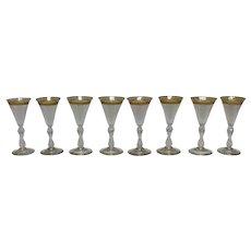 Set of 8 Blown, Cut Glass, & Gilt Cordials