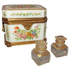 19th Century French Opaline Glass Perfume Box
