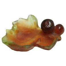 Mid 20th Century Daum Pate de Verre Art Glass Mint Dish