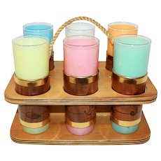 Mid Century Siestaware Tom Collins Bar Set with 6 Libby Glasses