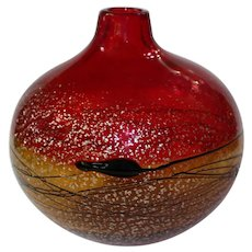 Late 20th Century Modernism Red Globular Vase