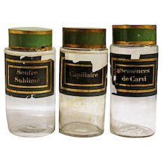Set of Three French Apothecary Jars