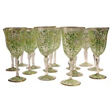 Set of 14 Wine Goblets by Santi of Murano