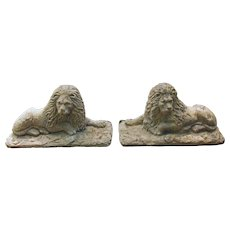 Edwardian Cast Stone Lions - A Pair