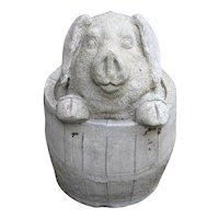 English Cast Stone Garden Pig in a Barrel