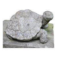 "English Cast Stone ""Walking"" Garden Turtle"