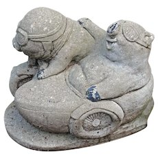 Mid-20th Century Cast Stone Pig Garden Ornament