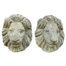 English Cast Stone Garden Lion Masks, Late 19th Century