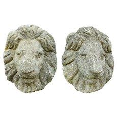 English Cast Stone Garden Lion Masks, Late 19th Century