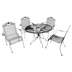 Vintage Wrought Iron Table & 4 High Back Arm Chairs