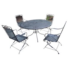 Mid Century Woodard Wrought Iron Garden Set - A Table & 4 Chairs