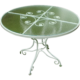 Vintage 1930-50s French Iron Garden Table