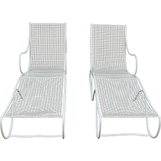 Vintage 1930-50s Art Modern Chaise Lounges - A Pair