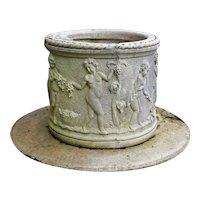 Mid-20th Century Renaissance Style Cast Marble Well Head & Base