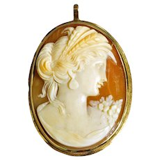 Victorian Cameo Shell Pin or Pendant
